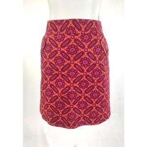 ANN TAYLOR Orange Red Pink Paisley Straight Skirt